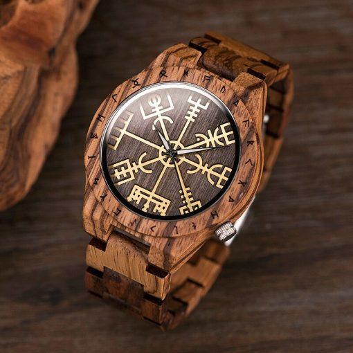 BOBO BIRD Male Watch Wooden Men watches Golden Compass Guide Luminous Hands Wristwatch In Gift box 1
