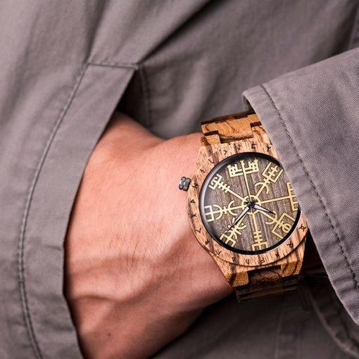 BOBO BIRD Male Watch Wooden Men watches Golden Compass Guide Luminous Hands Wristwatch In Gift box 4