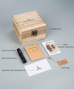 BOBO BIRD Male Watch Wooden Men watches Golden Compass Guide Luminous Hands Wristwatch In Gift box 5
