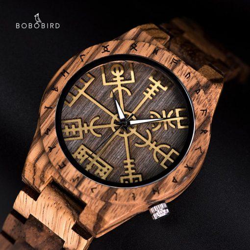 BOBO BIRD Male Watch Wooden Men watches Golden Compass Guide Luminous Hands Wristwatch In Gift