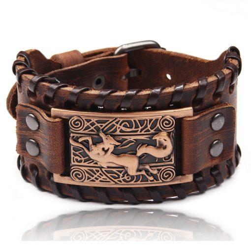 Charm Wide Leather Bracelet Men Punk Braided Rope Alloy Cuff Bangle Male Wristband Viking Bracelet Mens 1