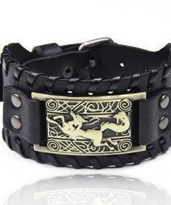 Charm Wide Leather Bracelet Men Punk Braided Rope Alloy Cuff Bangle Male Wristband Viking Bracelet Mens 2