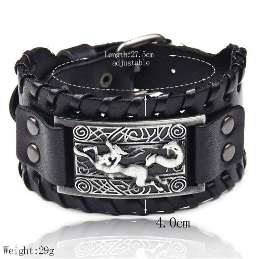 Charm Wide Leather Bracelet Men Punk Braided Rope Alloy Cuff Bangle Male Wristband Viking Bracelet Mens 3