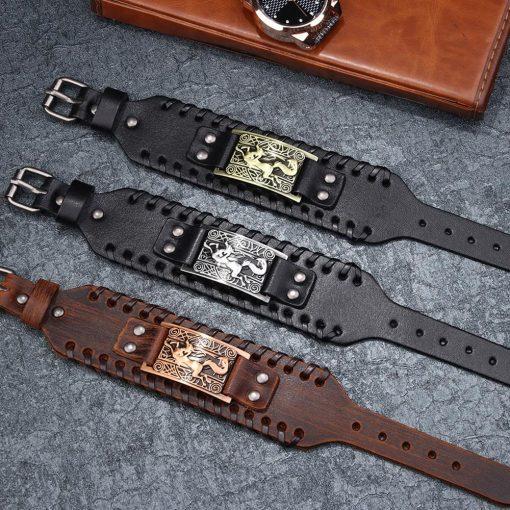 Charm Wide Leather Bracelet Men Punk Braided Rope Alloy Cuff Bangle Male Wristband Viking Bracelet Mens 4