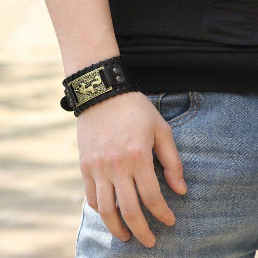 Charm Wide Leather Bracelet Men Punk Braided Rope Alloy Cuff Bangle Male Wristband Viking Bracelet Mens 5