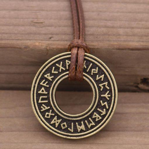 Pagan Elder Futhark Runes Vintage Jewelry Runic Vegvisir Compass Pendant Viking Necklace Men Women Norse Amulet 1