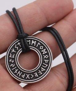 Pagan Elder Futhark Runes Vintage Jewelry Runic Vegvisir Compass Pendant Viking Necklace Men Women Norse Amulet