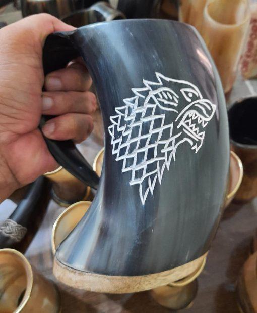 black drinking horn mug