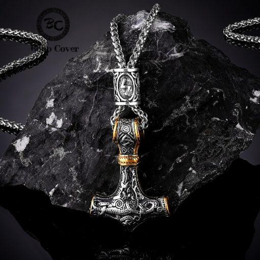 Norse Vikings Thor s Hammer Mjolnir Scandinavian Rune Amulet Necklace Stainless Steel Chain Vegvisir Anchor Pendant