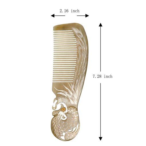 Vietnam Buffalo Horn Comb Phoenix Engraved Horn Comb Anti Static Comb Hair Care Massage Tool 4